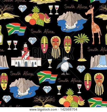 Vector seamless pattern with hand drawn colored symbols of South Africa on black color. Pattern on the theme of travel and tourism. Background for use in design, packing, web site, fabric