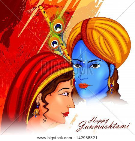easy to edit vector illustration of Lord Krishna and Radha on Happy Janmashtami background