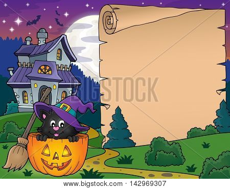 Halloween parchment with cat in pumpkin - eps10 vector illustration.