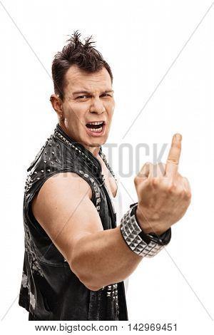 Furious young punker showing his middle finger isolated on white background