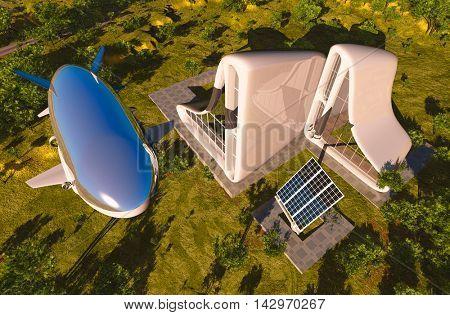 Airship over modern cottage.  3d render