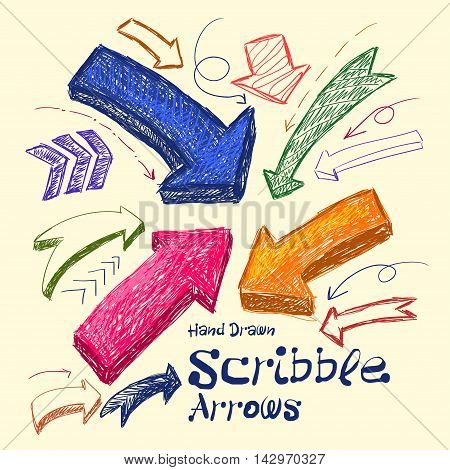 Set Of Bright Scribble Arrows Hand-drawn On A Light Background. Vector