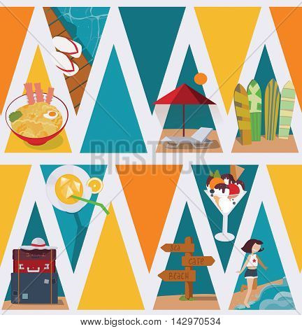 Seamless vector illustration based on colorful bright triangles on white background and vacation objects and girl. Pattern with ce cream bags sea and sunbed in blue red and yellow
