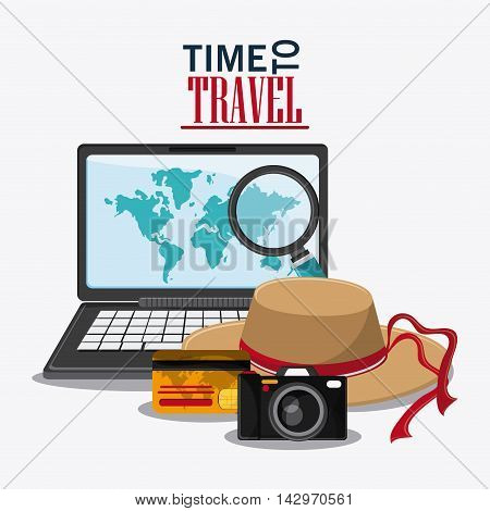 laptop lupe credit card camera hat time travel vacation trip icon. Colorful design. Vector illustration