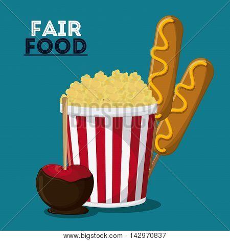 pop corn dog  apple fair food snack carnival festival icon. Colorful design. Vector illustration