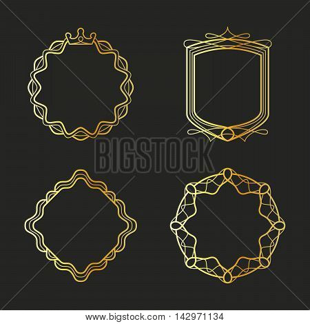 Golden emblems and badges frames set. Vector illustration
