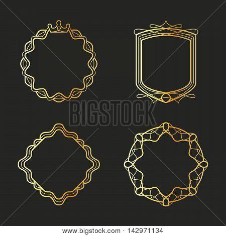 Golden emblems and badges frames set. Vector illustration