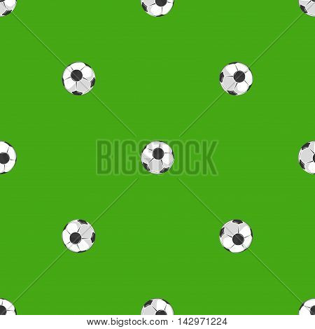 Soccer balls over green field seamless pattern. Backdrop soccer game for championship, vector illustration