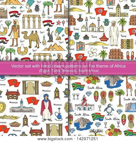 Vector set with seamless hand drawn colored patterns on the theme of Africa. Patterns with symbols of Egypt Tunis Morocco South Africa. Background for use in design packing textile fabrics