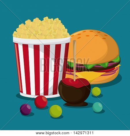 pop corn hamburger apple fair food snack carnival festival icon. Colorful design. Vector illustration