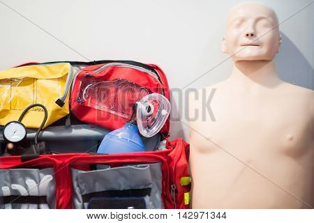 CPR Training Equipment, color image, no people,