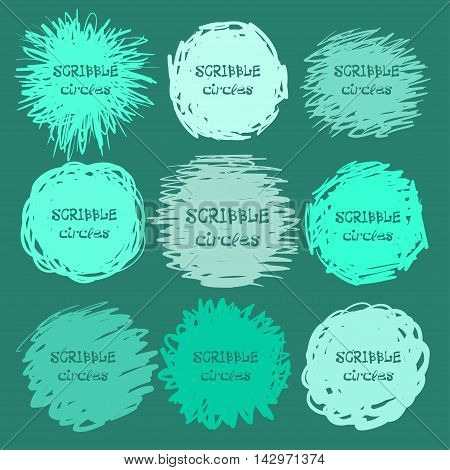 Collection Of Green Hand-drawn Scribble Circles For Your Design. Vector