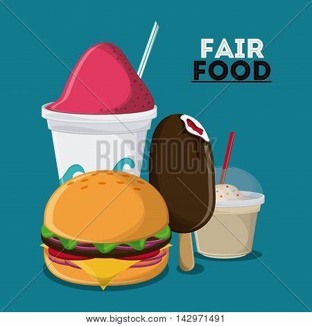 ice cream hamburger fair food snack carnival festival icon. Colorful design. Vector illustration