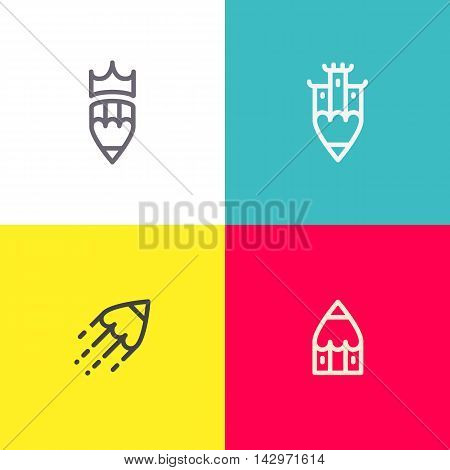 Artistic logo set. Line art illustration. Applicable for chancellery,stationary,art studio etc. Eps10 vector illustration.