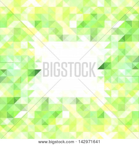 Lemon yellow polygonal vector pattern for background. Square abstract image with centered composition for backdrop pattern tile banner template. Optimistic sunny color palette. Text place in center