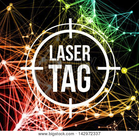 Laser tag with target.on a background of multi-colored laser beams. Vector illustration