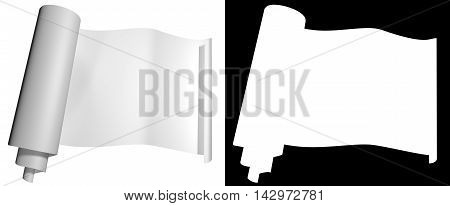 Blog roll of white paper on a dark background. Alpha Channel. 3d illustration
