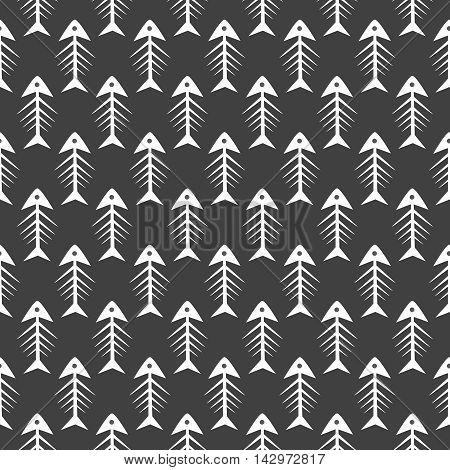 Fishbone monochrome seamless vector pattern. Black and white fish bone textile pattern design.