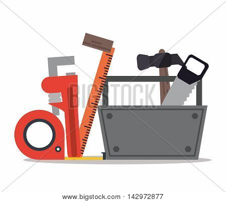 hammer saw meter repair tools construction icon. Colorful design. Vector illustration