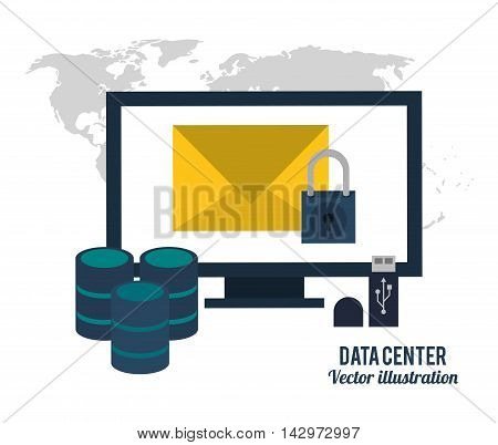 map computer envelope padlock usb data center icon. Colorful design. Vector illustration