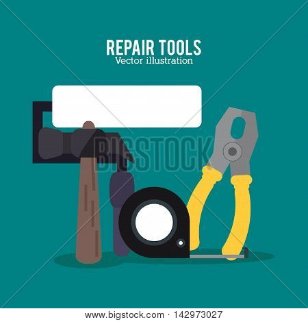 hammer roller meter pliers repair tools construction icon. Colorful design. Vector illustration