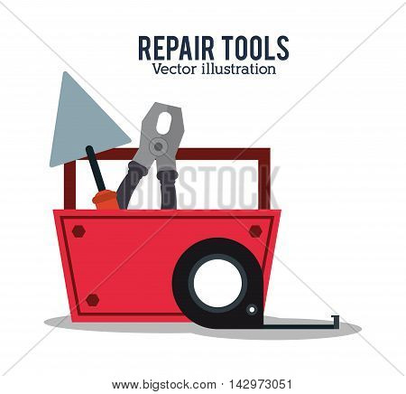 spatula pliers meter repair tools construction icon. Colorful design. Vector illustration