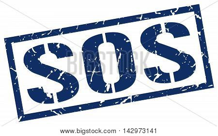 sos stamp. blue grunge square isolated sign