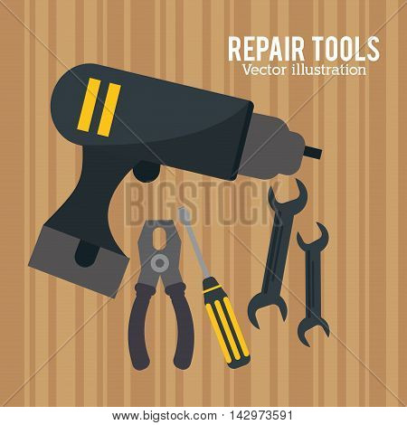 drill pliers screwdriver wrench repair tools construction icon. Colorful design. Vector illustration