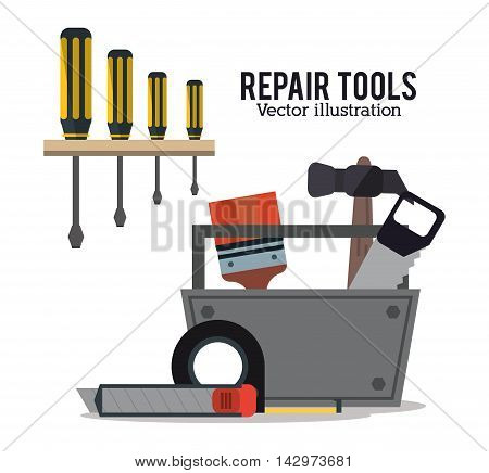 screwdriver brush hammer saw repair tools construction icon. Colorful design. Vector illustration