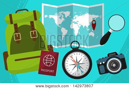Hike And Travel By World With Passport Facilities, Backpack, A Magnifying Glass, Camera, Maps. Vecto
