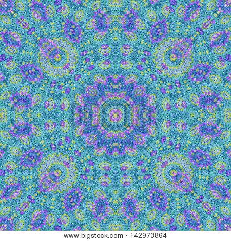Abstract paisley blue violet ornament. Seamless pattern kaleidoscopic orient popular style