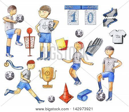 Large raster illustration with football players and soccer supplies as ball medal boots shirts pipe. Footballers running standing training. Isolated on white raster hand drawn set