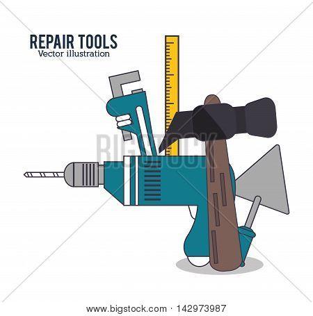 hammer drill ruler spatula repair tools construction icon. Colorful design. Vector illustration