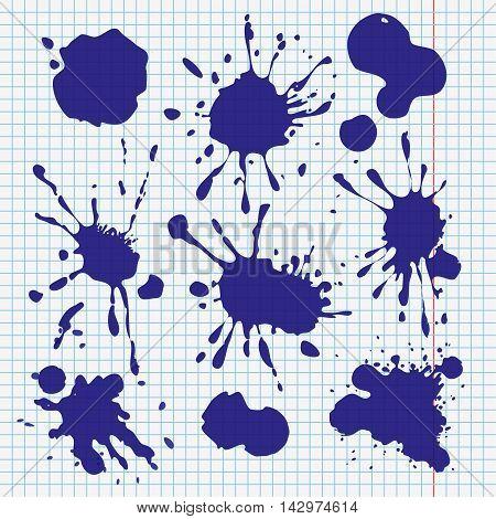 ink spills, stains and smudges, set of vector splatters