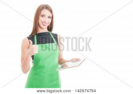 Happy Female Seller With Tablet Showing Thumbup