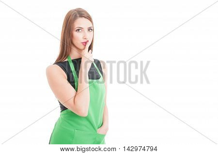 Young Female Employee Doing A Quiet Gesture