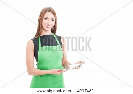 Smiling Young Employee Holding Digital Tablet