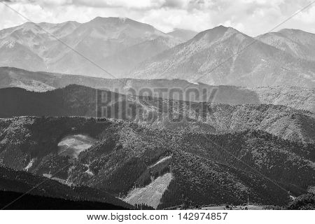 Carpathian mountains landscape view from the height Chornogora ridge Ukraine black and white photo