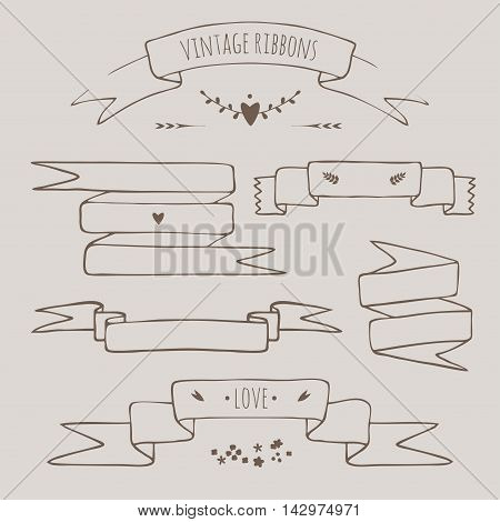 vector set of vintage styled hand drawn decorative ribbons