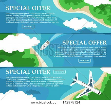 Three Horizontal Banner With The Sea And The Islands For Your Advertising. Flat Style. Vector