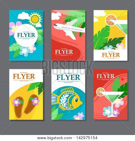 Collection Of Brightly Colored Rectangular Card On Travel And Leisure. Flat Style. Vector