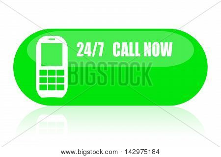 24/7 call now green button isolated on white background