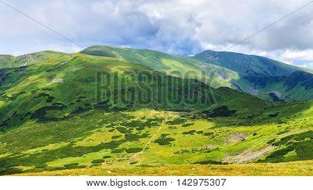 Picturesque Carpathian mountains landscape view from the height Chornogora ridge Ukraine