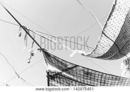 Black And White Photo,old Cloth Awning At Sky