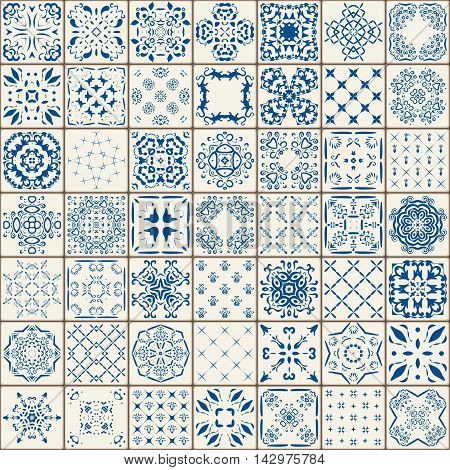 Mega Gorgeous seamless patchwork pattern from colorful Moroccan tiles ornaments.