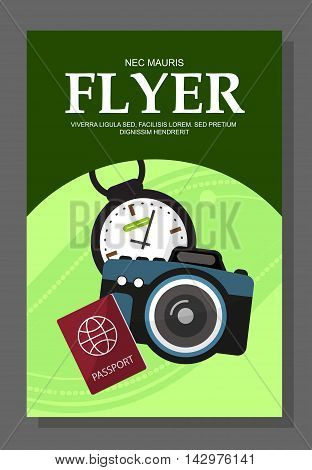 Flyers With The Concept Of The Campaign On The Tour. Camera, Compass, Passport Vector