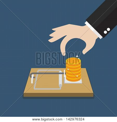 Businessman hand pick money from mousetrap. Business concept