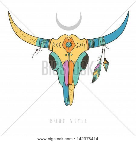 vector illustration with colorful bull skull isolated on white, cow skull with ethnic ornaments and feathers on horns