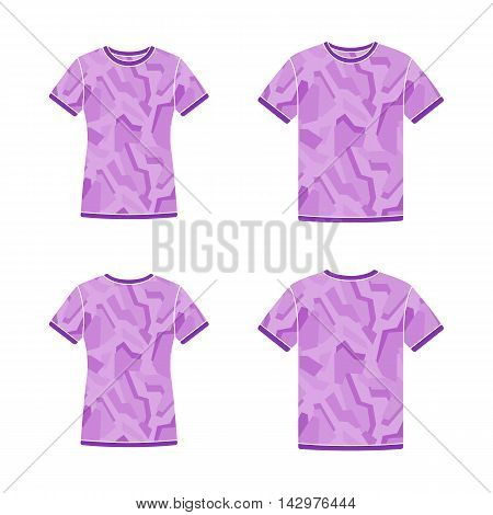Mens and womens purple short sleeve t-shirts templates with the camouflage pattern. Front and back views. Vector flat-style illustrations
