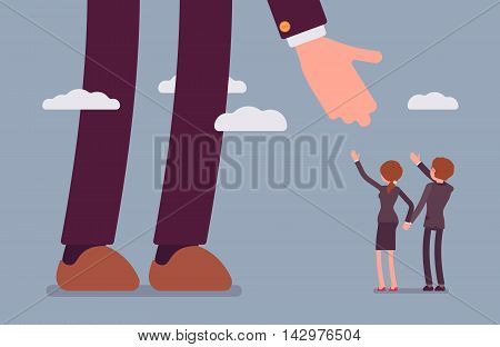 Helping hand for businessmen. Man and woman are in a formal wear. Sky background. Cartoon vector flat-style concept illustration